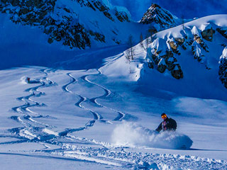 Powder skiing and riding