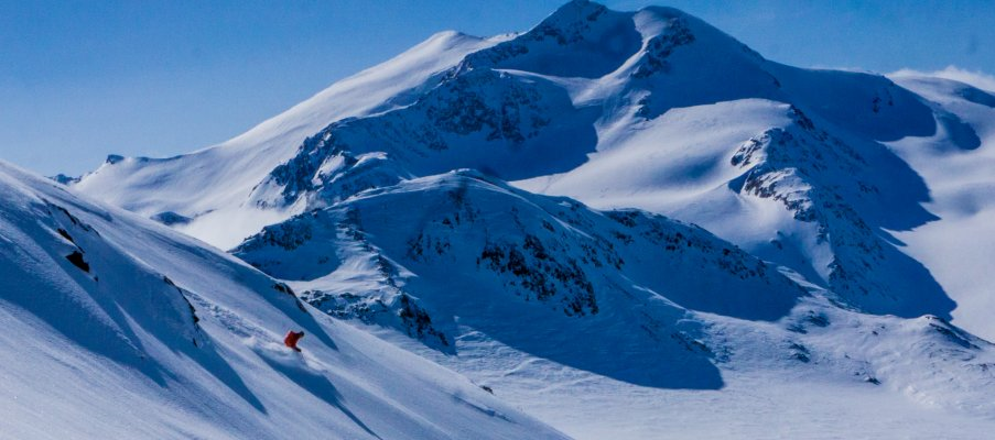 High alpine powder skiing in Italy